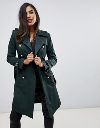 Forever Unique Belted Trench Coat Blue