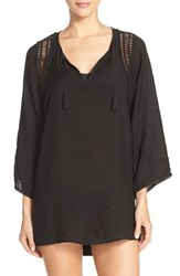 Women's Robin Piccone 'Pippa' Crochet Trim Cover Up Tunic Black
