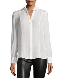 Halston Long Sleeve Collared Shirt Linen White