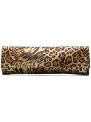 Giuseppe Zanotti Design Leopard Print Satin Clutch Brown