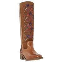 Bertie Tilde Embroidered Knee High Boots Tan Suede Leather