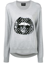 Markus Lupfer Sequin Lips Sweater Grey