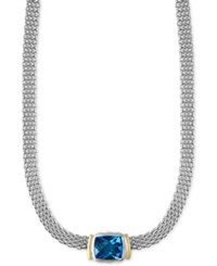Effy Ocean Bleu Blue Topaz Collar Necklace 6 3 4 Ct. T.W. In Sterling Silver And 18K Gold
