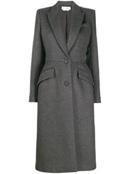Alexander Mcqueen Single Breasted Fitted Coat Grey