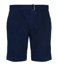 Officine Generale Pineapple Jacquard Shorts Male Blue