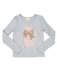 Hannah Banana Faux Fur Cat Tee W Crystal Bow Gray