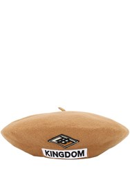 Burberry Logo Patch Felted Merino Wool Hat Almond