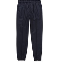 Marni Slim Fit Wool Blend Felt Trousers Blue