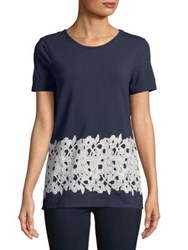 Ivanka Trump Embroidered Lace Tee Black Iris