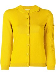 Barrie V Neck Bicolor Cashmere Pullover Yellow And Orange