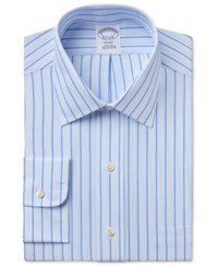 Brooks Brothers Men's Regent Classic Fit Striped Dress Shirt Light Blue