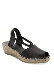 Andre Assous Dainty Leather Slingback Wedge Sandals Black