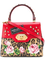 Dolce And Gabbana Welcome Printed Tote Leather Brown