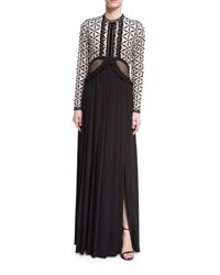 Self Portrait Guipure Maxi Dress W Waist Cutout Black White