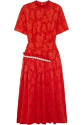 Mother Of Pearl Twilla Embellished Burnout Cotton Midi Dress Red