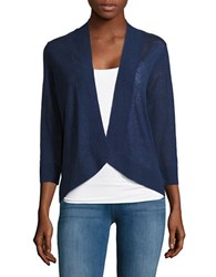 Tommy Bahama Open Front Knitted Linen Cardigan Deep Ocean