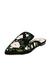 Karl Lagerfeld Niana Floral Embroidered Mule Black
