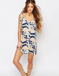 Honey Punch Festival Shift Dress With Shoulder Tie Straps In Oversized Floral Multi