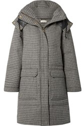 By Malene Birger Ebba Quilted Houndstooth Woven Down Coat Gray