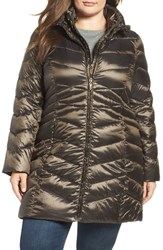 Ellen Tracy Plus Size Women's Hooded Down And Polyfill Coat Gunmetal