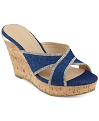 Guess Eleonora Platform Wedge Slide Sandals Women's Shoes Blue