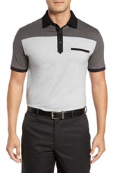 Bobby Jones Men's R18 Rizzo Colorblock Polo Heather Grey