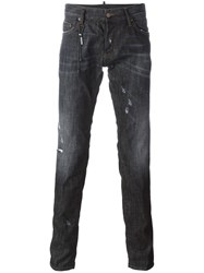 Dsquared2 Slim Chain Whiskered Jeans Black