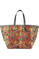 J.W.Anderson Jw Anderson Belt Leather Trimmed Printed Canvas Tote Orange