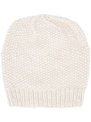 The Elder Statesman Cashmere Seed Stitch Beanie White