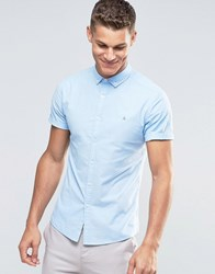 Asos Skinny Fit Oxford Shirt In Blue With Logo Blue