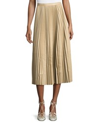 The Row Solly Pleated Leather Midi Skirt Khaki