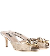 Dolce And Gabbana Lace Slip On Kitten Heel Pumps Beige