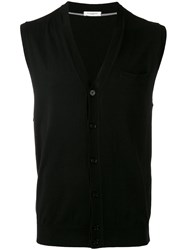 Paolo Pecora Sleeveless V Neck Cardigan Black