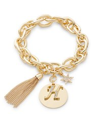 Rj Graziano H Initial Chain Link Charm Bracelet Gold