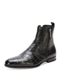 Crocodile Chelsea Boot Black Stefano Ricci