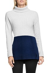 Vince Camuto Women's Two By Colorblock Turtleneck Naval Navy