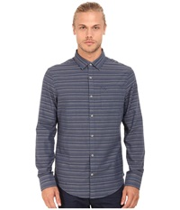 Original Penguin Dobby W. Horizontal Striped Long Sleeve Woven Heritage Shirt Dark Denim Men's Long Sleeve Button Up Navy