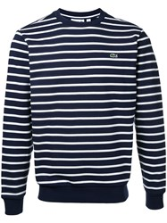 Lacoste Crew Neck Striped Sweatshirt Men Cotton 6 Blue