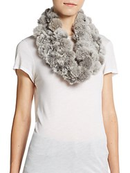 Saks Fifth Avenue Rabbit Fur Infinity Scarf Chinchilla