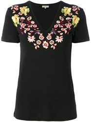 Etro Embroidered Floral T Shirt Women Cotton Viscose 42 Black
