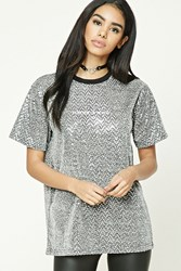 Forever 21 Sequined Or Never Tee Silver White