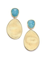 Marco Bicego Lunaria Aquamarine And 18K Yellow Gold Drop Earrings Gold Blue