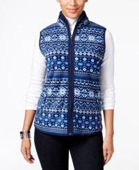 Karen Scott Printed Fleece Vest Only At Macy's Intrepid Blue