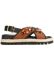 Marni Espadrille Fussbett Sandals Brown