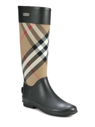 Burberry Clemence Check Canvas Rain Boots Charcoal Beige