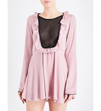 For Love And Lemons Skivvies Adriana Satin Lace Nightgown Lilac