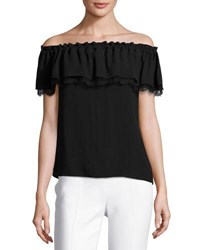 Michael Kors Lace Trim Off The Shoulder Blouse Black