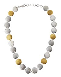 Gurhan Flake Silver And 24K Disc Necklace Silver Gol