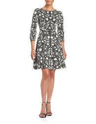 Eliza J Textured Floral Fit And Flare Dress Grey White