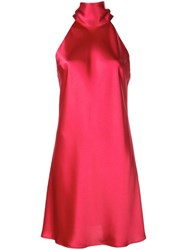 Galvan Pussy Bow Satin Dress Red